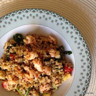Two Busy Beez: Cous Cous e Quinoa con spinaci e gamberoni