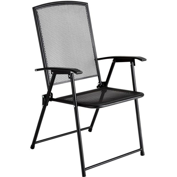 Nice Metal Garden Chair Folding Steel Outdoor Patio Deck Furniture Black Wrought  Iron #OutdoorMetalFurniture #WroughtIronTraditionalSeat