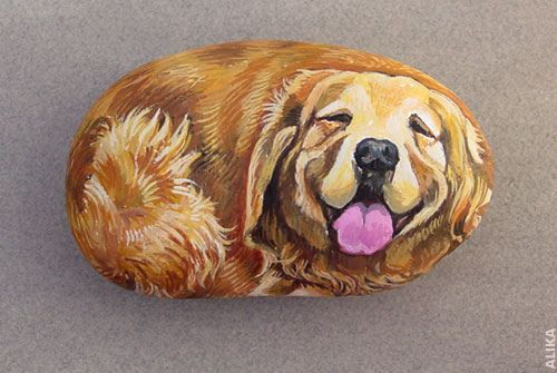 painted rocks | Hand painted rock. Golden Retriever | Flickr - Photo Sharing!