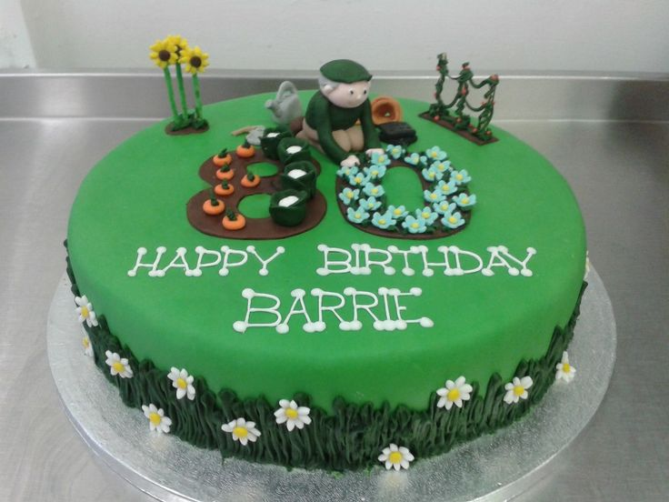 gardening themed 80th birthday cake