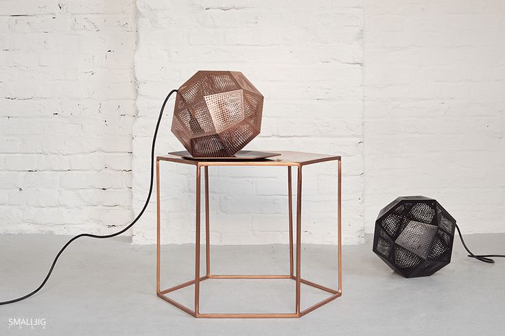 © smallbigidea.com Tom Dixon lamps and Bloomingville copper table.