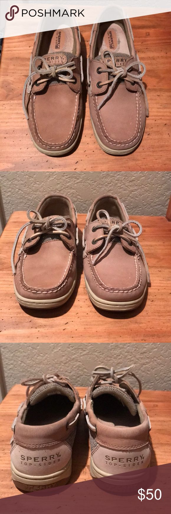 Sperry Top-Sider Shoes Sperry Top-Sider Boat/Deck Shoes. Excellent like new condition. Small mark on one shoe near toe (see first photo). Very comfortable. Tan. Size 7. Sperry Top-Sider Shoes Flats & Loafers