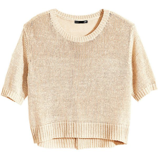 H&M Knitted jumper (20 PEN) ❤ liked on Polyvore featuring tops, sweaters, crop top, h&m, light beige, cropped sweater, h&m sweater, h&m jumper, short sleeve tops and beige crop top