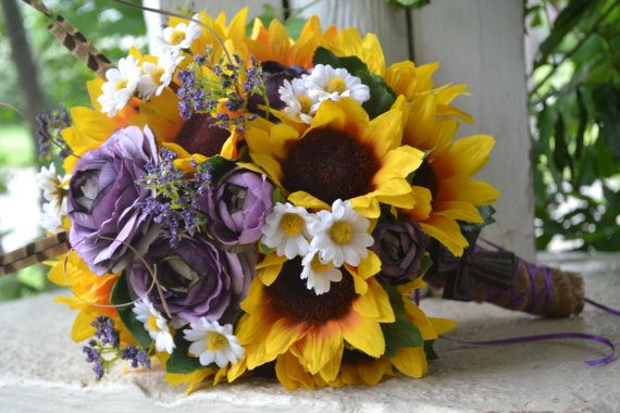 rustic sunflower wedding bouquet ranunculus daisy country southern chic bride feathers burlap broach purple white yellow boutonniere on etsy 85