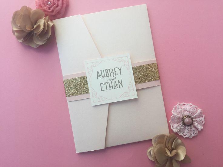 Wedding invitations, blush and gold wedding invitations, glitter gold wedding invites, wedding stationery | Hello Beautiful Designs