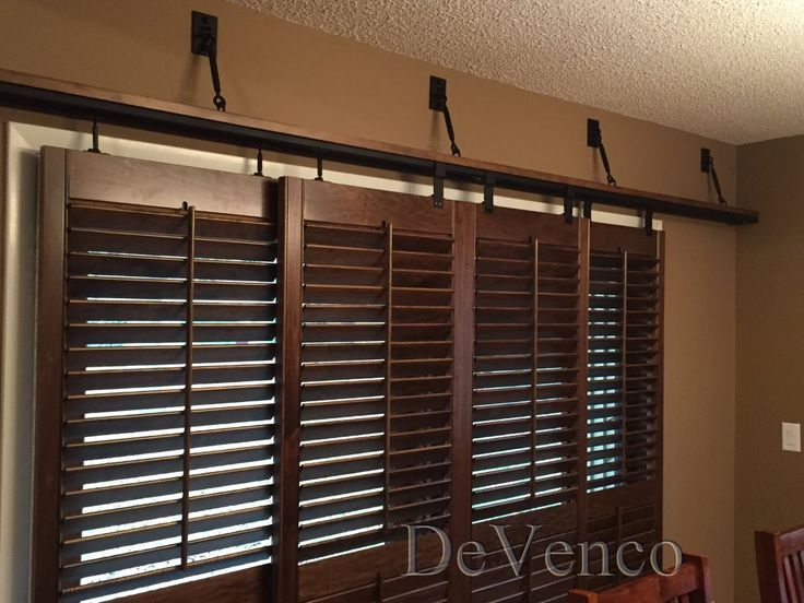 plantation shutters barn door style for sliding doors - Google Search