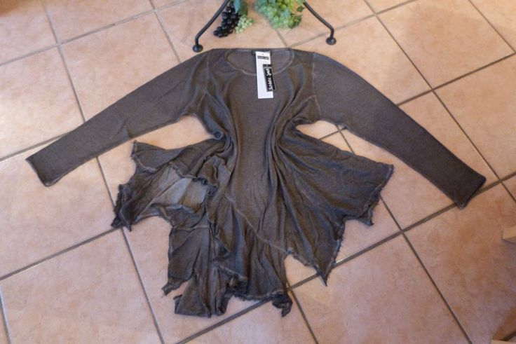 BARBARA SPEER Zipfel Pullover 44 46 48 50 NEU! grau Old Look A-Form LAGENLOOK