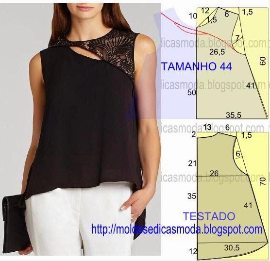 PASSO A PASSO MOLDE DE BLUSAO molde de blusa encontra-se no tamanho 44. Nota: A ilustração do molde blusa não tem valor de costura.  Corte um retângulo de tecido com a altura e largura que pretende pa