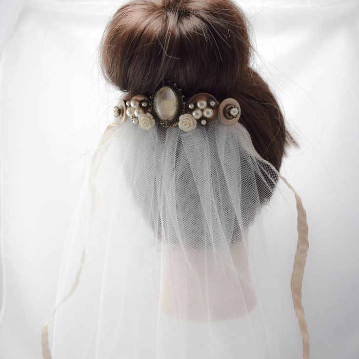 Vintage Pearl Antique Gold and Ivory Bridal Veil Vintage Bride Wedding by BouquetsByLouise on Etsy