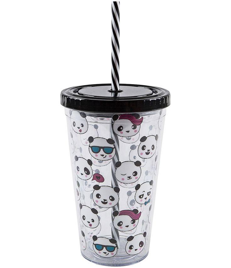 Copo de plástico   Com canudo   Estampa de panda  Marca: Accessories    Veja outras opções de    papelaria.