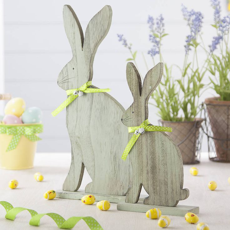 Pair Of Wooden Easter Bunnies