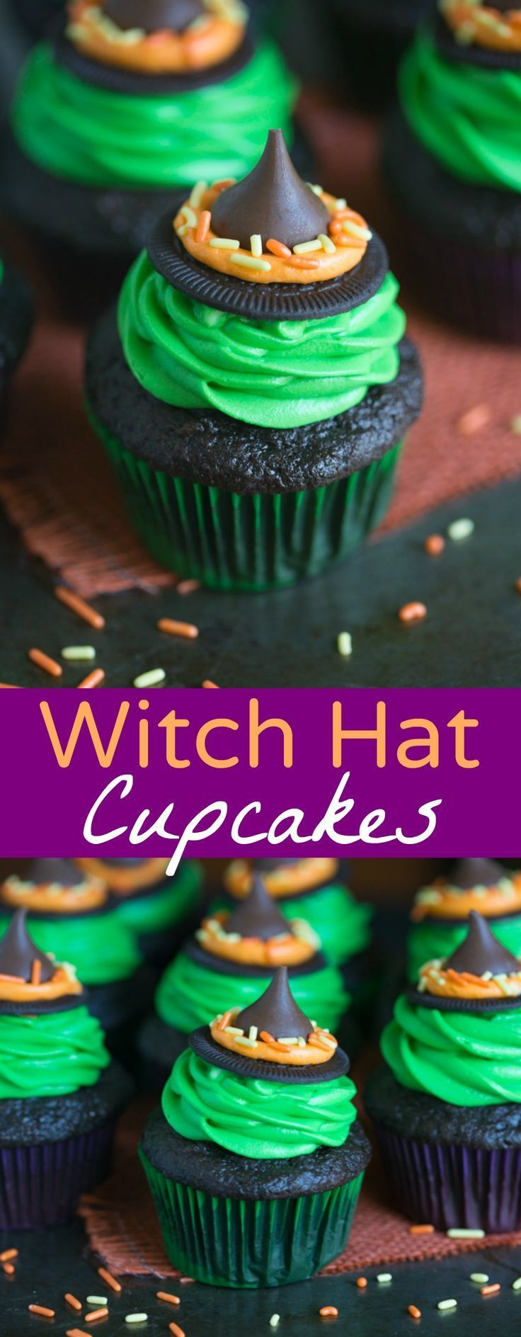Witch Hat Cupcakes that take just 5 ingredients to make! You kids will love helping you make these fun and easy Halloween cupcakes! | Tastes Better From Scratch (Halloween Food Recipes)