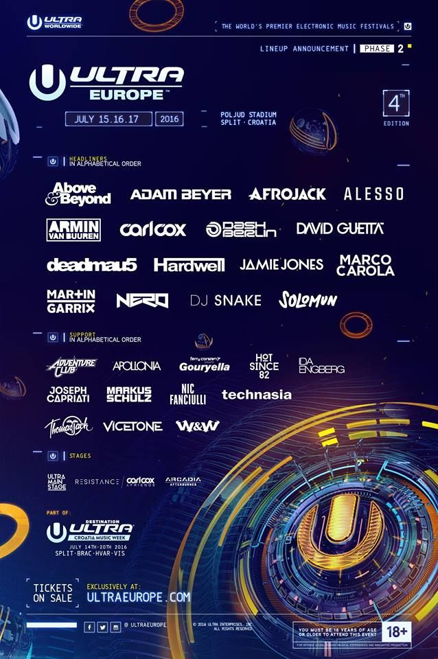 ULTRA EUROPE REVEALS THE PHASE TWO LINEUP FOR 2016!