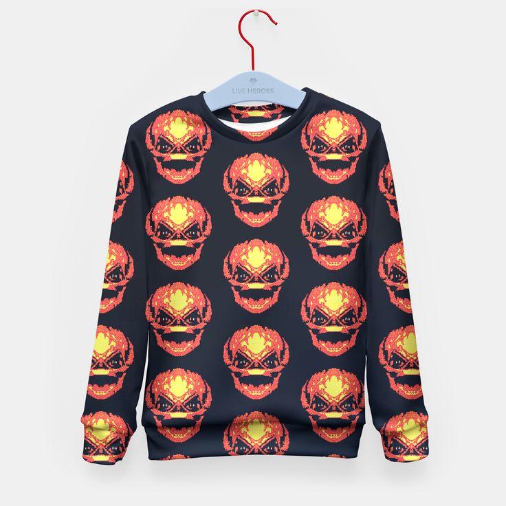 Trick R Treat Sam Live Heroes Kids Sweater by Fimbis  #trickortreat #trickrtreat #halloween #pumpkinhead #pumpkin #samhain #sweater #kids #childrensfashion #kidsfashion #sweatshirt
