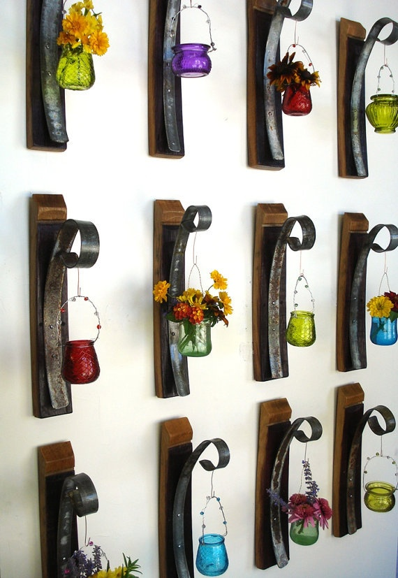Wall Hanging Candle / Flower Holders - Set of 12 - 100% recycled Wine Barrels