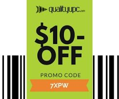 Quality UPC $10-Off Coupon code. Get a barcode today and receive $10-Off buy entering in the coupon during checkout. Barcodes, upc codes, barcode labels, barcode reseller.