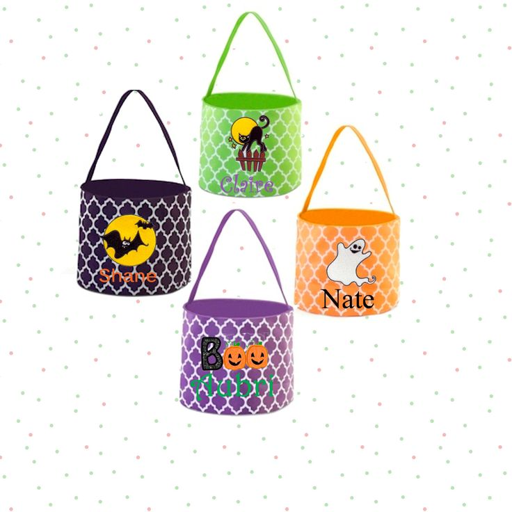 Embroidered Personalized Halloween Buckets, Quatrefoil Halloween Buckets, Monogram Halloween Buckets, Childrens Trick or Treat Buckets by ScKreations on Etsy