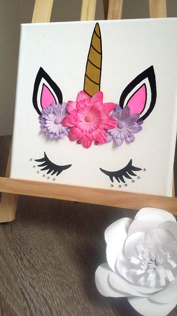 Cadre licorne 3D tête de licorne avec strass