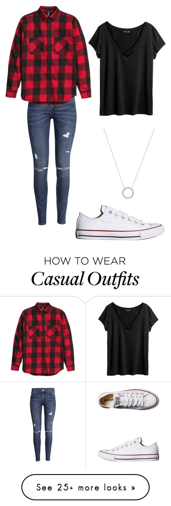 """Casual Outfit"" by kittychloe on Polyvore featuring H&M, Converse and Michael Kors"