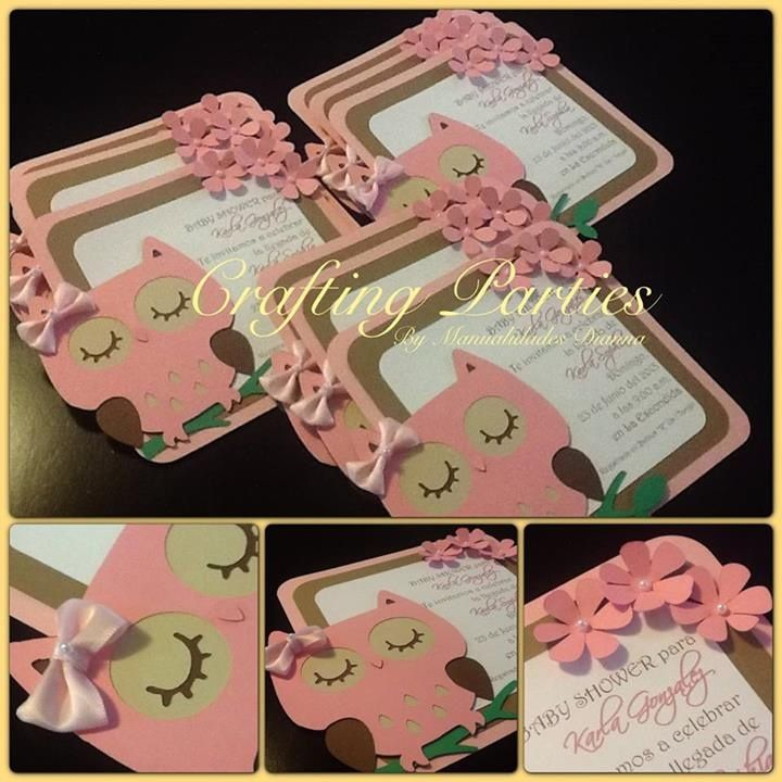 I made these owl invitations with my Cricut Machine. Bow is made out of satin ribbon and a little pearl is placed on the bow as well as on the little flowers for a finishing touch. To view more of my pictures or if you would like to purchase invitations like these or others, visit me on facebook at www.facebook.com/CraftingPartiesByDianna
