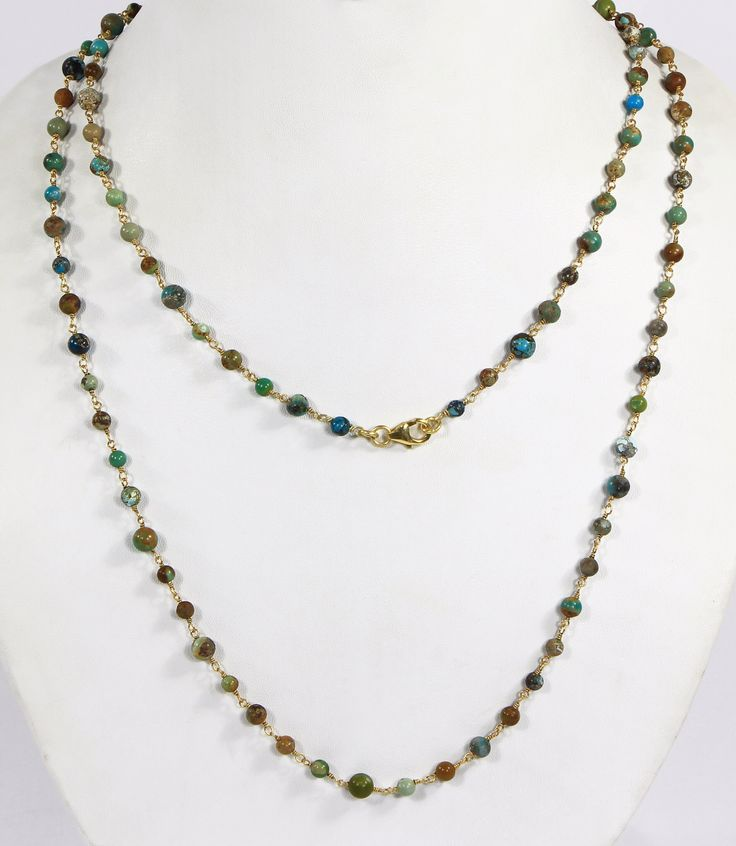 Long chain necklace with in .925 Sterling Silver wire wrapped with Natural Turquoise Beads
