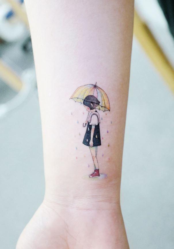 2d36aa09a Raining Girl Tattoo | Selected Tattoos For Girls | Wrist tattoos ...