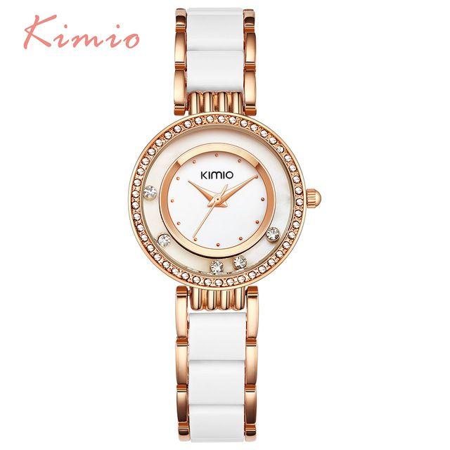 Big Deals $15.99, Buy KIMIO Pearl Scale Crystal Diamond Rolling Bracelet Women's Watches Brand Luxury Fashion Ladies Watch Women Quartz-watch Clock