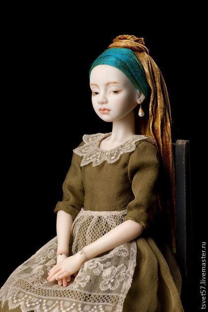 "Collectible handmade dolls. Fair Masters - handmade porcelain doll jointed ""Girl with a Pearl Earring."" Handmade."