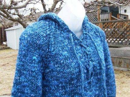 Handknit Blue Hoodie