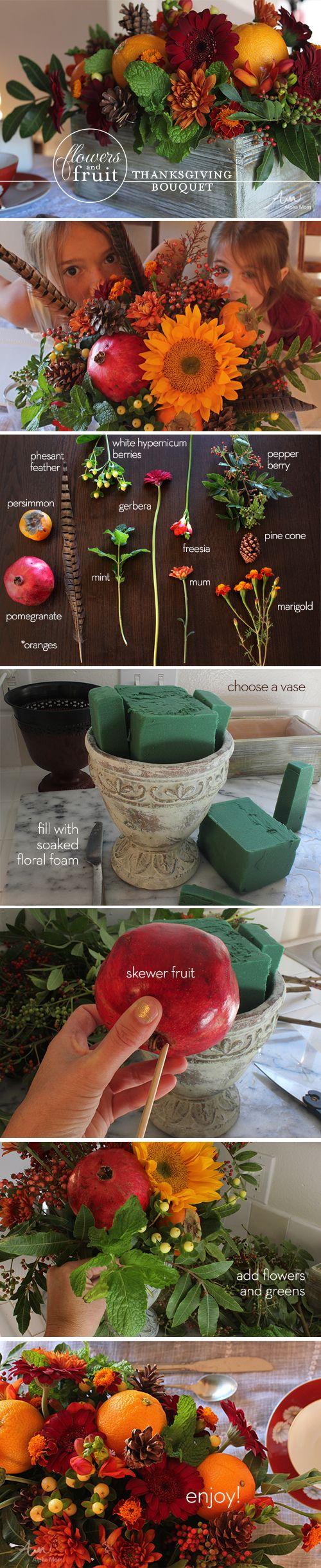 #Thanksgiving Flower Arrangement by Brenda Ponnay for Alphamom.com