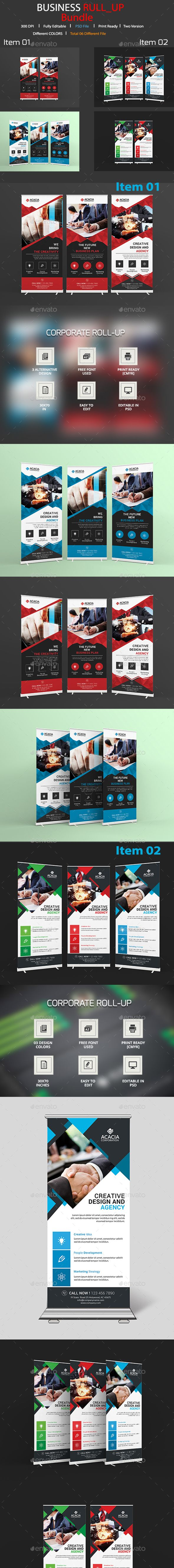 Roll-Up Banner Design Template Bundle - Signage Print Template PSD. Download her...