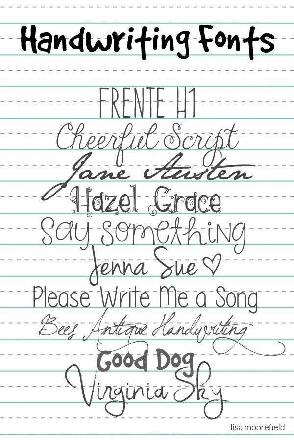 Free Handwriting Fonts | Lisa Moorefield