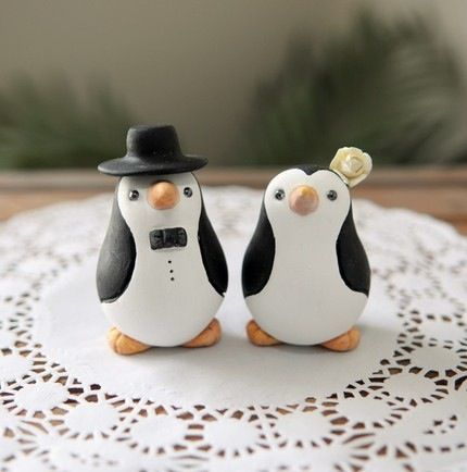 Penguin wedding toppers
