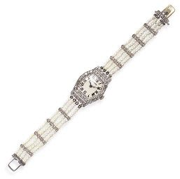 AN ART DECO SEED PEARL AND DIAMOND WRISTWATCH, BY CARTIER   With nickel-finished lever movement, nineteen jewels, the white tonneau-shaped dial with black Roman numerals and blued-steel hands, within a rose-cut diamond case, to the four-strand seed pearl bracelet, spaced by rose-cut diamond bars, mounted in platinum and 18k gold, circa 1925, 6½ ins.  Dial signed Cartier;