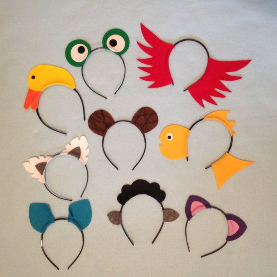 9 Brown bear what do you see animals theme ears headband birthday party favor costume duck purple cat black sheep red bird kid adult baby
