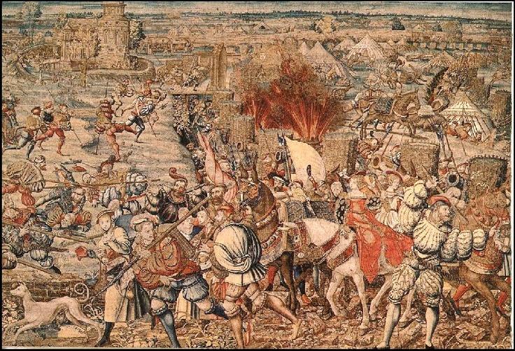 1525 Battaglia di Pavia: la cavalleria francese fu spazzata via dall' esercito spagnolo; Francesco I fu imprigionato per tre mesi.
