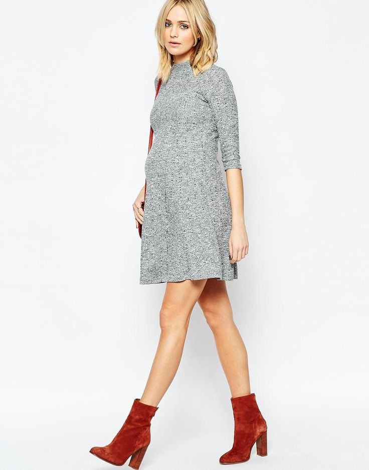 ASOS Maternity | ASOS Maternity Swing Dress In Rib With Turtleneck at ASOS