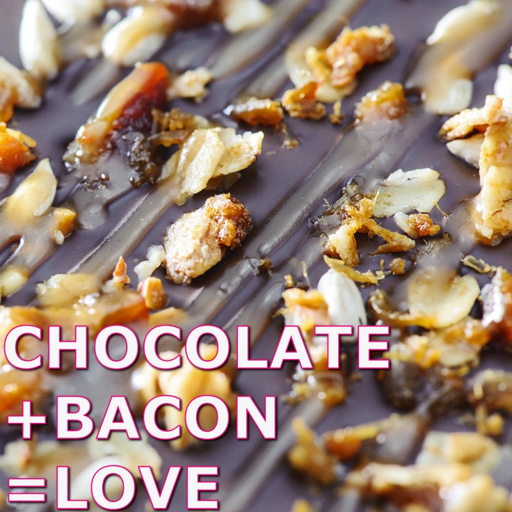 Bacon Chocolate Slabs+ : bacon bits + baked organic rolled oats with orange zest + toasted cereal crumbs + toasted sunflower seeds + maple caramel + your choice of chocolate base: semi-dark (57% cacao) or creamy white chocolate with hint of vanilla  Breakfast revised.  www.swallowmywords.com