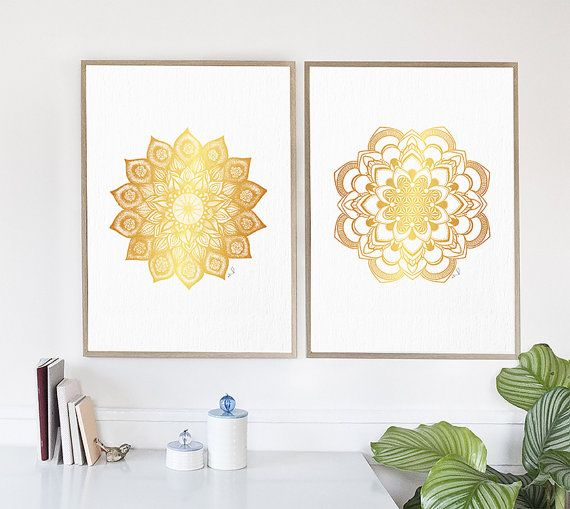 Mandala Wall Art Mandala Wall Decor Golden Mandala Print