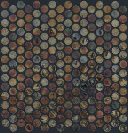 "Ceramic tile in style ""Liquid Metal"" Penny Round Mosaic ..."