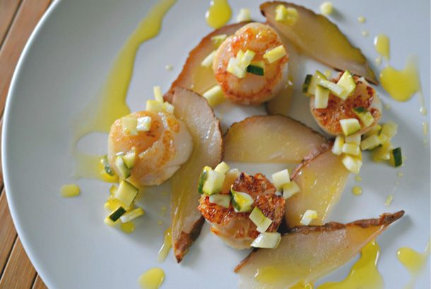Top Chef Canada Inspired Recipe from Episode 1: Seared Scallops with Roasted Pear and Pickled Zucchini.