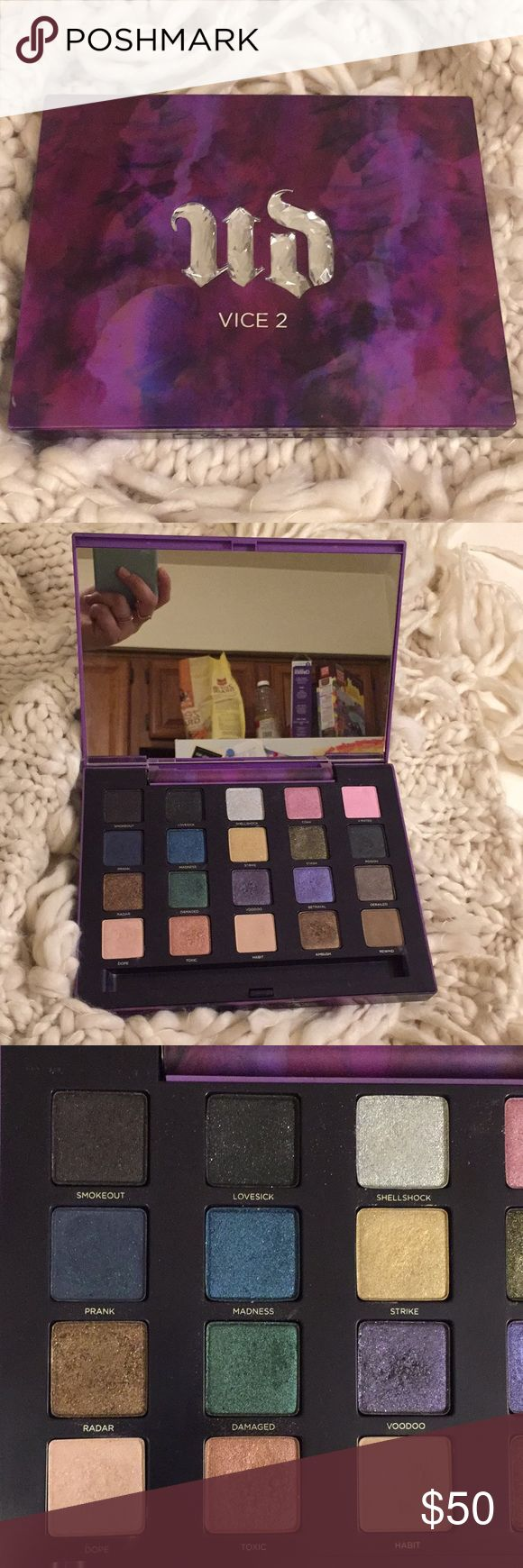 Urban Decay Vice 2 palette Urban Decay Vice 2 palette. Used twice. The pictures do not do these colors justice. Missing brush, other than that, like new condition. Urban Decay Makeup Eyeshadow