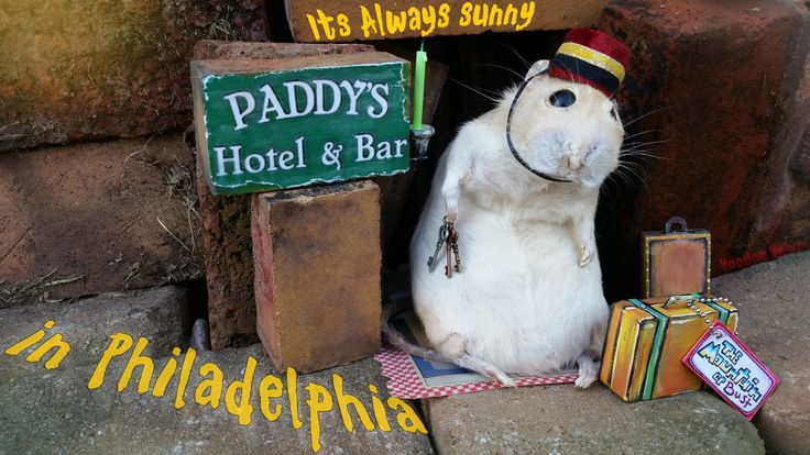 Looking for humor with a lot of grit? Paddy's Pub has the keys that fit! ☺☺☺☺☺ #ItsAlwaysSunnyinPhiladelphia  #TrundleManor #taxidermy  #voodoo #velvet #voodoovelvet #mouse #sunny #rat #art #philly #Hotel #Hugo #Bellhop #gaff #roach #circus #sideshow #PaddysPub #always #mountain #travel #keys #room #charlie #job #slopes #Courtney Voodoo Velvet ©™