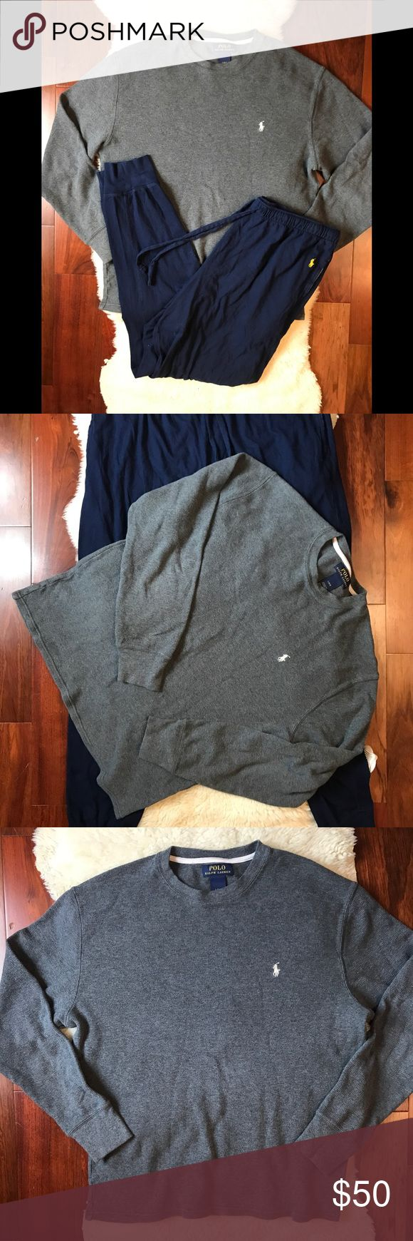 ♻️ Polo By Ralph Lauren Bundle of 2 lounge-ware L Polo By Ralph Lauren Set Of Cozy Lounge-ware   Tapered Drawstring Cotton Pants  Long sleeve Thermal Shirt  Both Size Large  Great Condition Polo by Ralph Lauren Pants Sweatpants & Joggers
