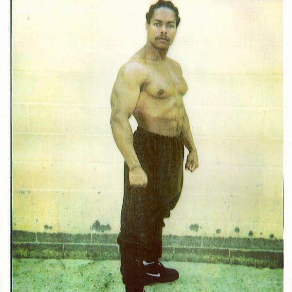 Lil Fee from Rolling 60s Crips, currently on California's death row. He was 18 when arrested for participating in 4 murders in 1984. Photo was taken in circa 1998.