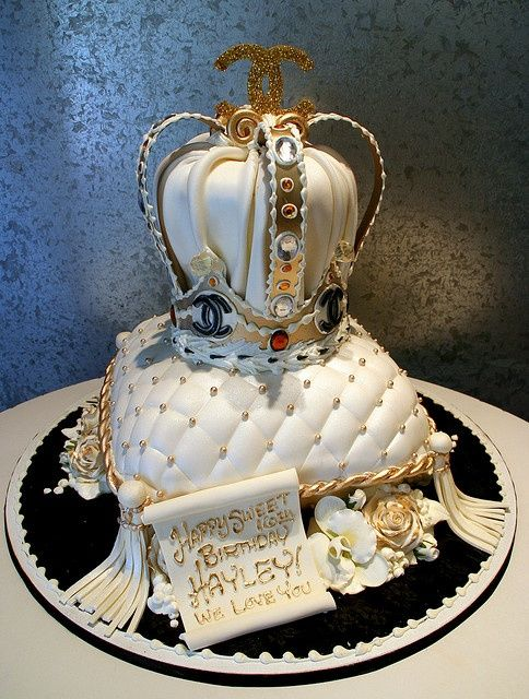 Chanel Crown On Pillow Sweet 16 Cake~  All edible fondant , white chocolate and buttercream