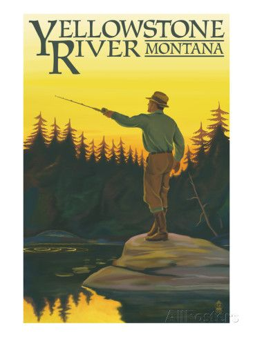 Yellowstone River, Montana - Fly Fishing Scene Affiches par Lantern Press sur AllPosters.fr