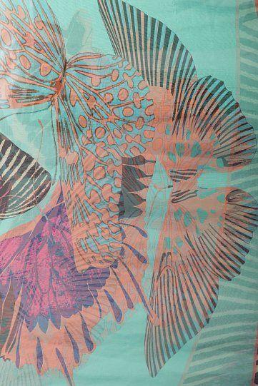Шифоновый женский палантин с принтом бабочек