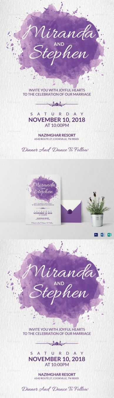 Watercolor Wedding Invitation Card Template$15 - Formats Included :MS Word, Photoshop, Publisher - File Size :5.25x7.25 Inchs