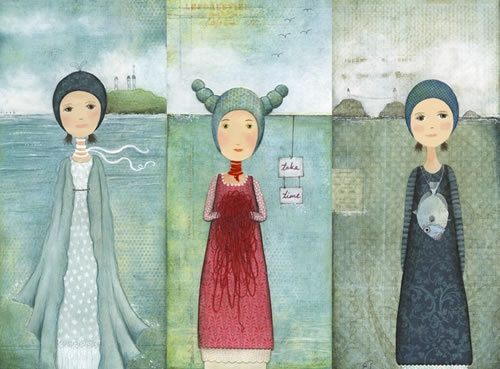 """Entitled """"Sleep and Her Sisters"""" by New Zealand artist Katherine Quinn. Beautiful colors, true?"""